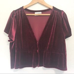 Urban Outfitters Goldie Velvet Short Sleeve Top